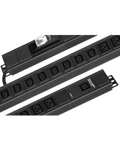 Chatsworth Power Strip, 0U, Basic, 16A, 250V, Vertical, (10) C13 (4) C19 Outlets, Circuit Breaker, Surge, IEC 16A, 3m Input Cord, Removable Mounting Brackets